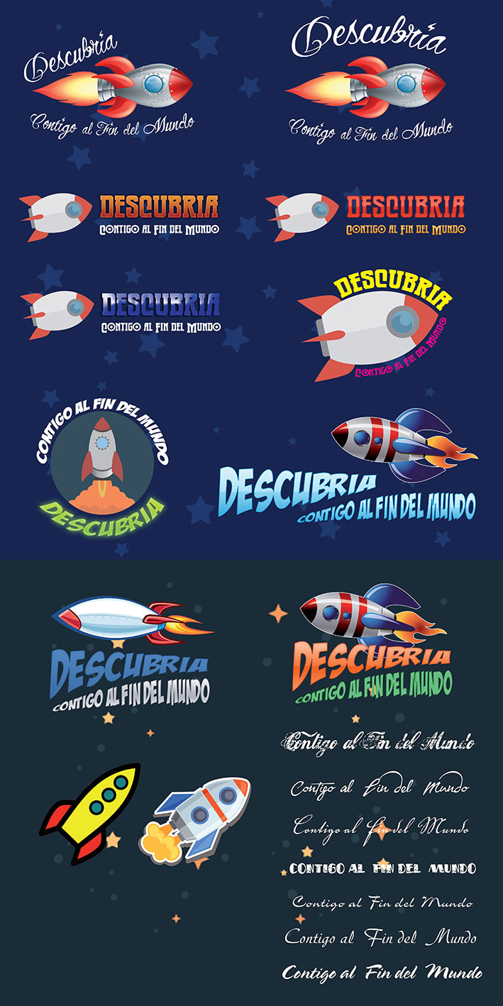 Astronomic round set of flat space icons