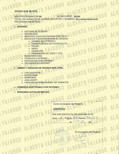 Diploma Autopistas informacion reverso