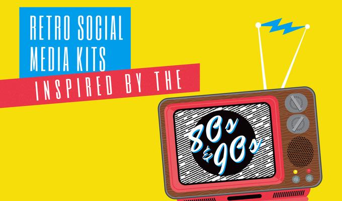 Kits de redes sociales retro inspirados en los años 80 y 90