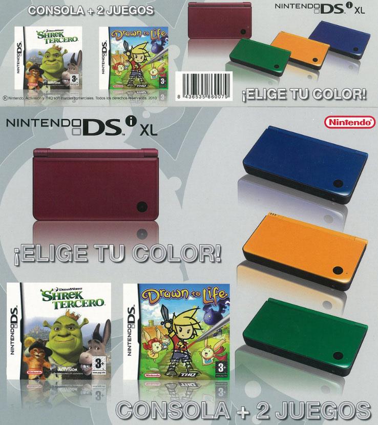 Parte frontal y canto de una caja bundler para Nintendo Nds. Trabajo realizado para Alcampo.