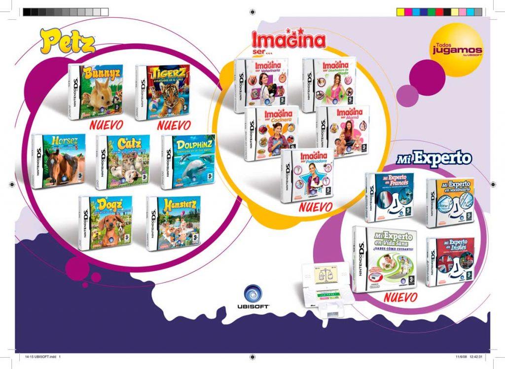 Maquetación de página interior, publicada dentro del catálogo videojuegos semestral. Trabajo realizado para Ubisoft.