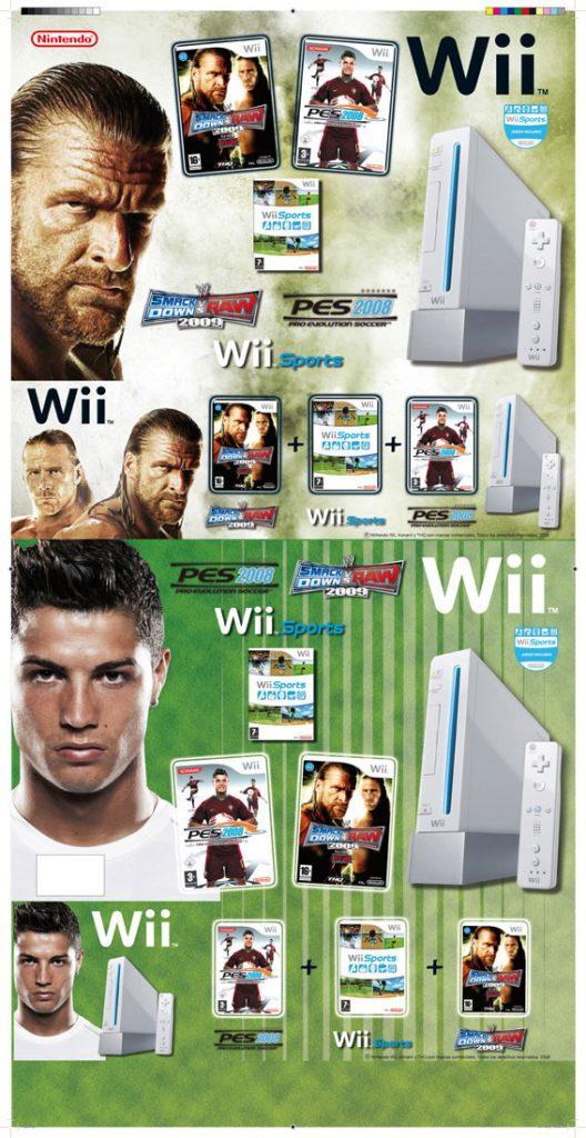 Parte frontal y canto de una caja bundler para Nintendo Wii. Trabajo realizado para Fnac.