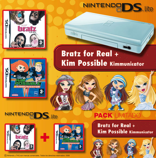 Parte frontal y canto de una caja bundler para Nintendo Nds. Trabajo realizado para Nintendo España.