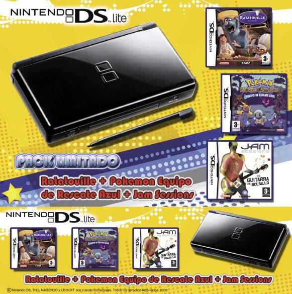 Parte frontal y canto de una caja bundler para Nintendo Nds. Trabajo realizado para Fnac.