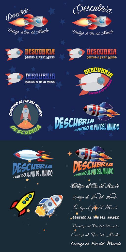 Estudio de logotipo para Descubria Agencia de Viajes