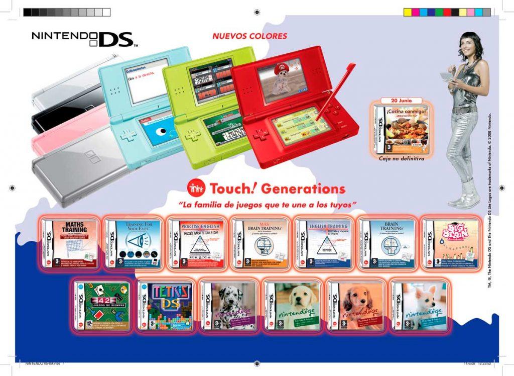 Maquetación de página interior, publicada dentro del catálogo videojuegos semestral. Trabajo realizado para Nintendo.